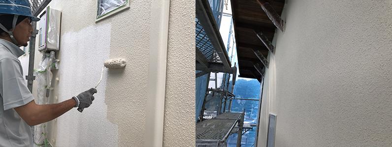 長野市A様邸屋根・外壁塗装工事・外壁中塗り