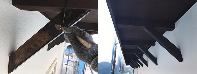 長野市A様邸屋根・外壁塗装工事・木部塗装2