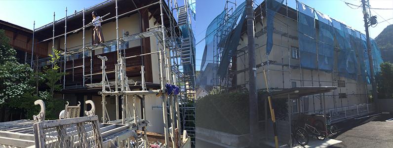 ②長野市A様邸屋根・外壁塗装工事・仮設足場の設置