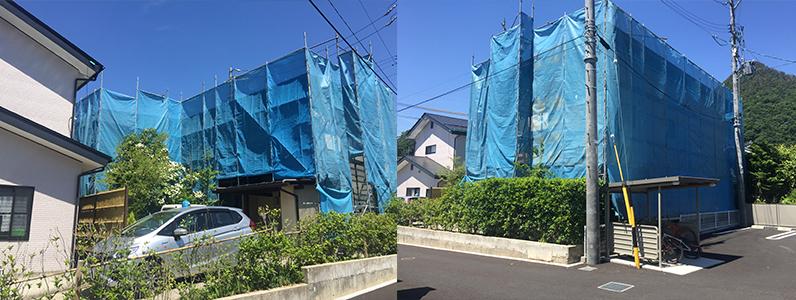 ②長野市A様邸屋根・外壁塗装工事・仮設足場メッシュシートの設置