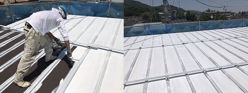 長野市A様邸屋根・外壁塗装工事・屋根下塗り