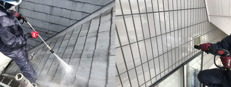 屋根タイル高圧洗浄