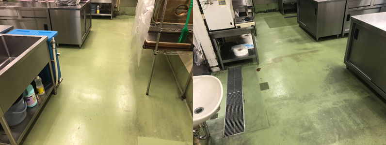 須坂市厨房床塗装_施工前